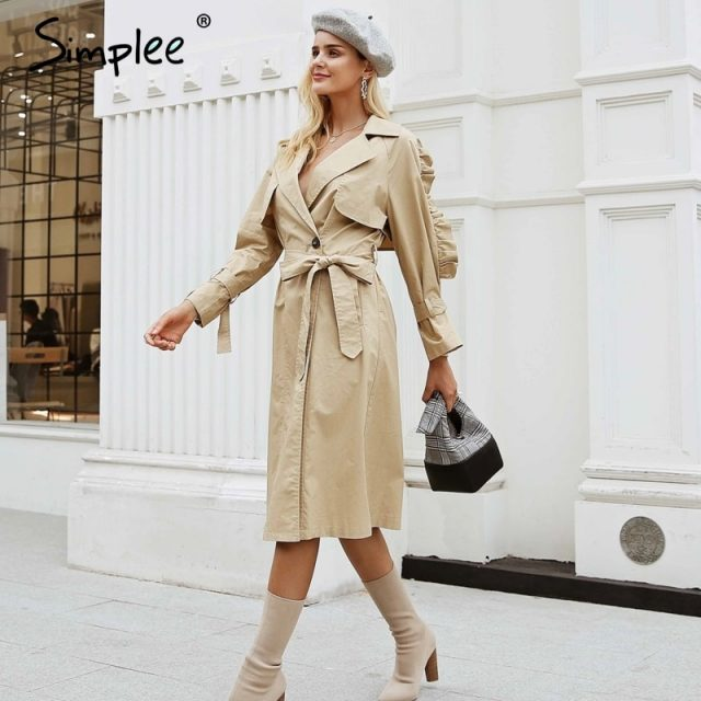 Simplee Elegant v neck khaki long trench coat women Side ruffles sleeves coats High Street cotton outwear autumn winter 2018