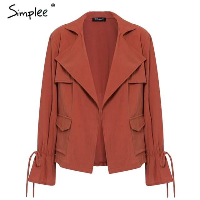 Simplee Casual bell sleeve women jacket Lace up drawstring cardigan top outwear Autumn winter female cotton jacket 2019 пиджак