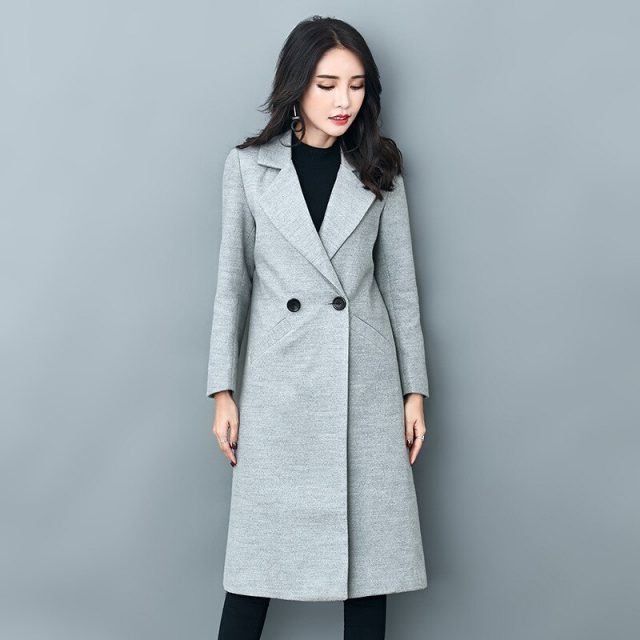 Autumn Winter Blends Overcoat Women Jackets Korean Style Long Coats Female fashion ladies trench outerwear