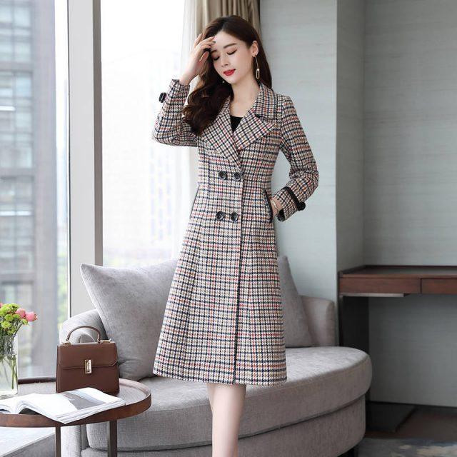 Fashion Wool Coat Women Plaid Long Coat Long Sleeve Overcoat Loose Outwear Female Winter Autumn Trench Coats Plus Size