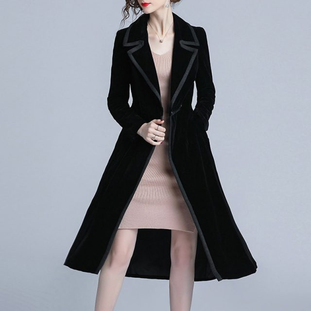 new arrival women fashion comfortable velvet trench coat professional OL temperament solid girls warm outdoor long black trench