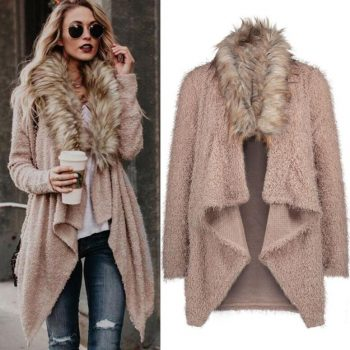 Europe autumn outwear women's fur collar cardigan coat women loose windbreaker casual streetwear clothing plus size
