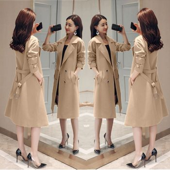 Spring Autumn Trench Coat Slim Single Breasted Trench Coat  Woman Trench Coat Long Women Windbreakers Plus Size Overcoat Femmino