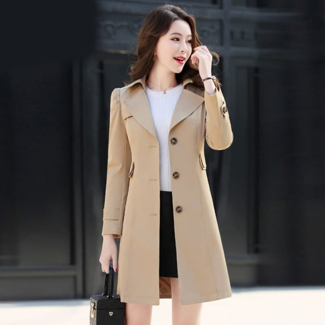Spring Autumn Trench Coat Single Breasted Trench Coat  Woman Trench Coat Long Women Windbreakers Plus Size Trench Coat Femminos