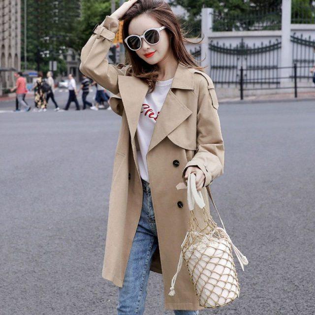 Khaki Women Trench Coat 2019 Spring Autumn Korea Style Mid-Long Trench Female Casual Windbreaker Clothes