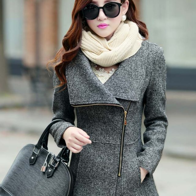 Europe autumn winter women's woolen jackets coats fashion slim jackets coats casual warm outwear plus size