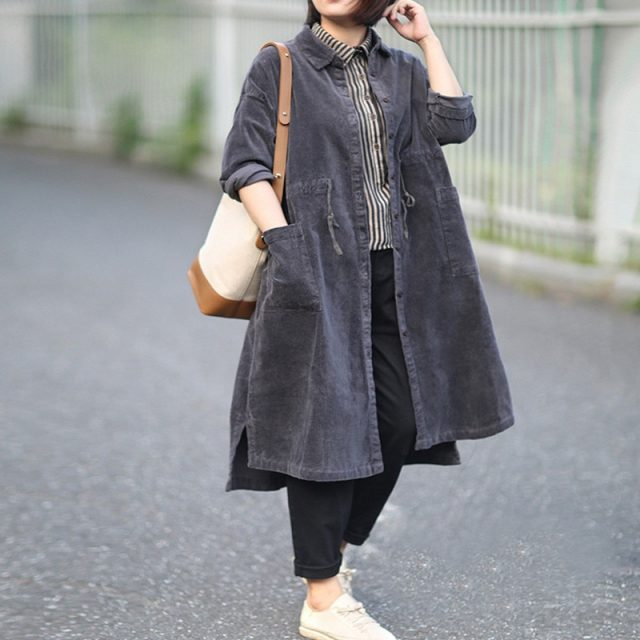 2019 Autumn Winter Female Literature Art Retro Loose Large Size Mid-long Corduroy Drawstring Trench Coat Women Overcoats X876