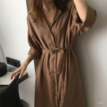 2019 Autumn Women Long Shirt Plus Size Loose Style Casual Lapel Batwing Sleeve Vintage OL Long Shirt Cardigan Blouse Coat Female