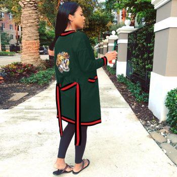 Tiger Sequined Women Long Cardigan Tops Clothes Fashion Streetwear 2019 Hot Sale Sexy Club Cardigan Clubwear