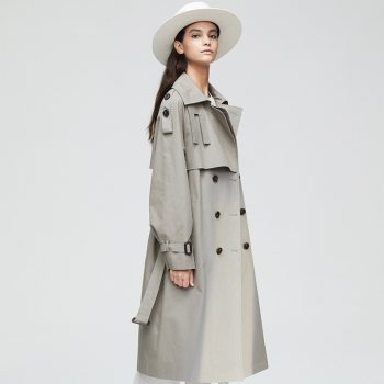 New Women's Tops Trench Anti-wrinkle Cotton Autumn Winter Overcoat Double-breastedStraight Trench Casual Knee-length Windbreaker