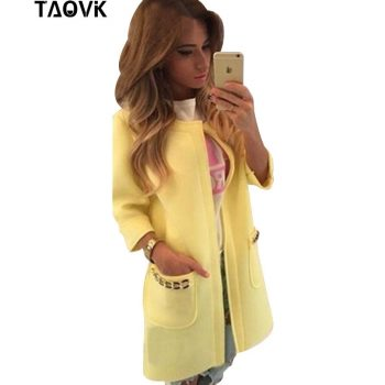 TAOVK women seven-point windbreaker coat women was thin coat  pocket with chains