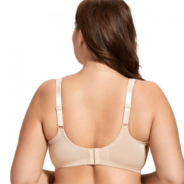 Women's Cotton Unlined Full Coverage Support Wire free Plus Size Minimizer Bra