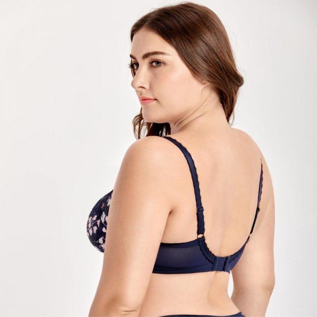 Women's Plus Size Underwire Non Padded Full Cup Lace Balconette Bra