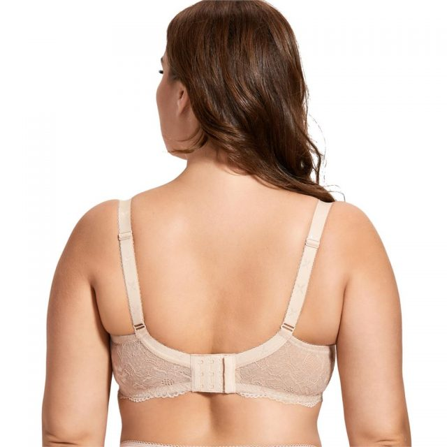 Women's Sheer Lace Elegant Full Coverage Non Padded Underwired Bra Breathable