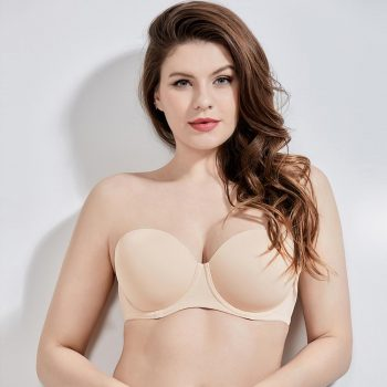 Women's Seamless Contour Underwire Full Figure Plus Size Multiway Strapless Bra