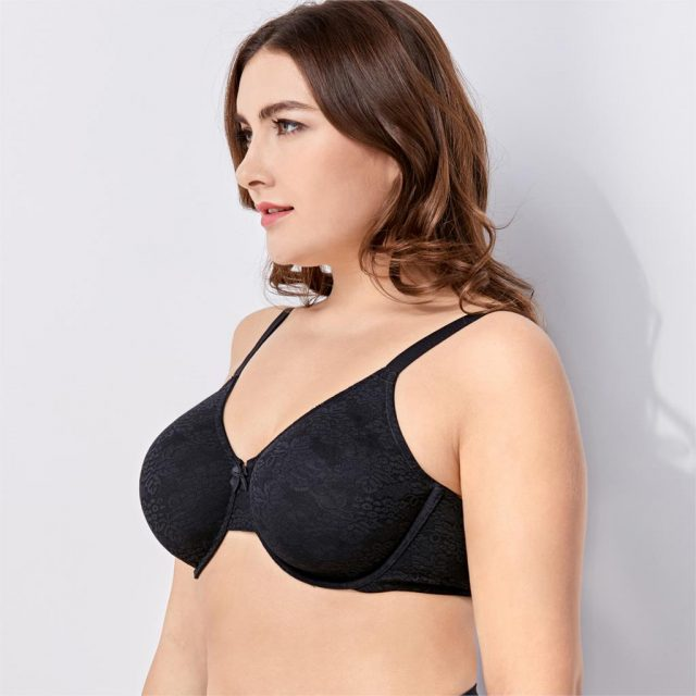 Women's Full Coverage Non Padded Underwire Supportive Sheer Lace Bra Plus Size