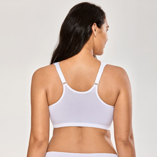 Women's Full Coverage Wirefree Lace Plus Size Front Closure Bra Racerback