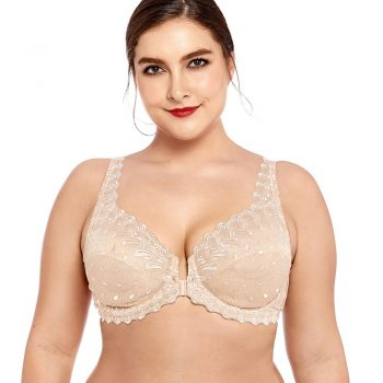 Women's Lace Front Close Unlined Plus Size Support Embroidered  Underwired Bra