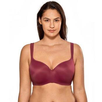 Women's Full Figure Side Support Contour Smooth Underwire Balconette T-Shirt Bra Plus Size