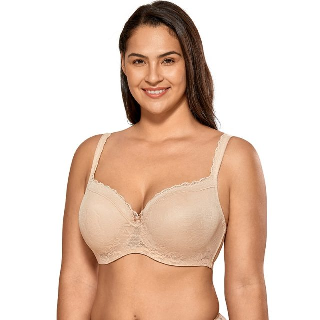 Women's Smooth Full coverage Lightly Padded Underwire Lace Balconette Bra Plus size