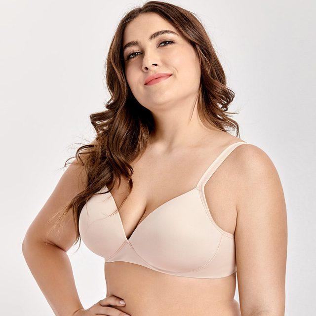 Women's Soft Lightly Padded Wire Free Plunge Lift T-Shirt Seamless Bra