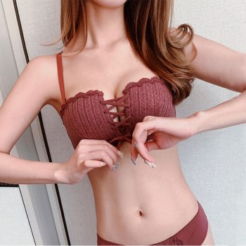 women strapless bra bralette seamless sexy push up bra invisible wireless Drawstring bras fashion Thin section cute bra