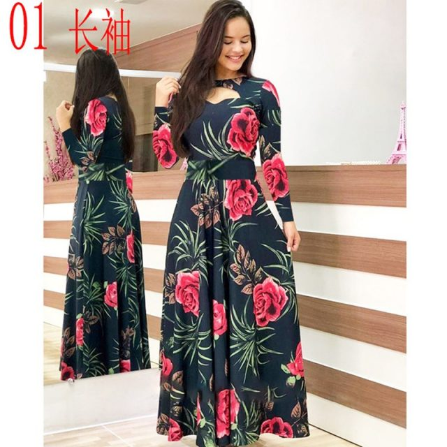 Elegant Spring Autumn Women Dress 2019 Casual Bohmia Flower Print Maxi Dresses Fashion Hollow Out Tunic Vestidos Dress Plus Size