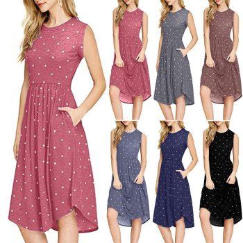 Oufisun Plus Size Summer Bodycon Women's Dress Casual O Neck Tunic Bohemia Dresses Elegant Polka Dot Print Pleated Dress Vestido