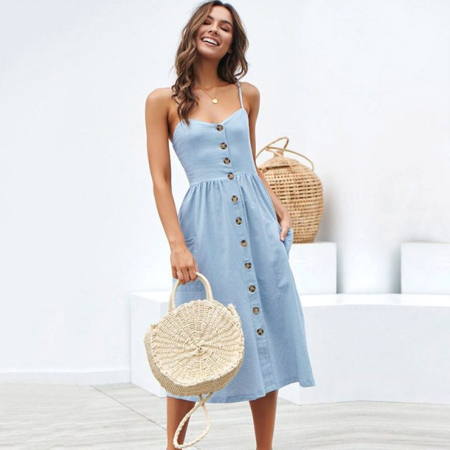 Bohemia Polka Dot Women Aummer Dress New Casual Sexy Spaghetti Strap Backless Midi Dresses Fashion Pocket Button Boho Maxi Dress