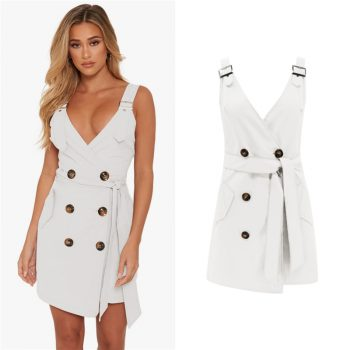 Summer new women's fashion sexy waist straps deep V bag hip dress 2019 casual belt double-breasted solid color dress B410
