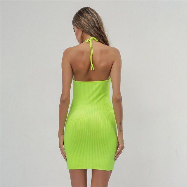 2019 Slim bag hip hanging neck strap dress summer European and American fashion street shoot backless casual dress B086