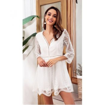 Summer and autumn new lace stitching embroidery fashion sexy holiday dress female Europe and America V-neck casual dress B374