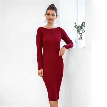 Elegant Lady Party Winter Dress Long Sleeve Solid Bodycon Dress Button vintage Midi Sweater Dress Office Lady Pencil Dress B709