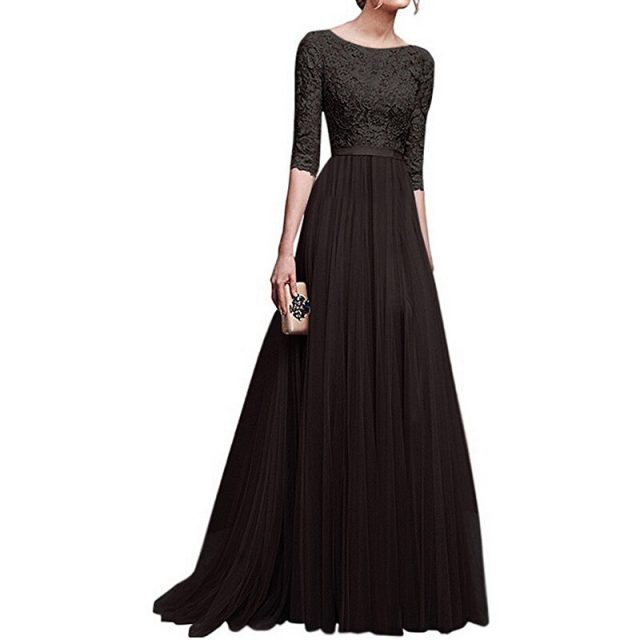 Summer new fashion lace chiffon solid color five-point sleeve banquet dress female 2019 Europe and America casual summer B320