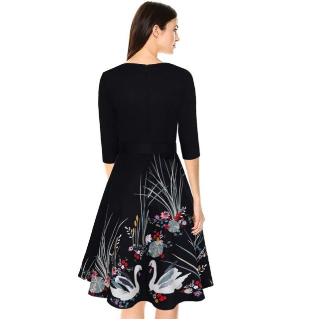 New women's V-neck print retro large size dress temperament dress 2019 spring and summer fashion casual office lady dress B277