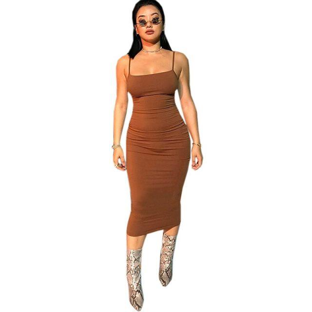 Summer fashion sexy women's nightclub bag hip tight chiffon dress 2019 European and American solid color casual dress B281