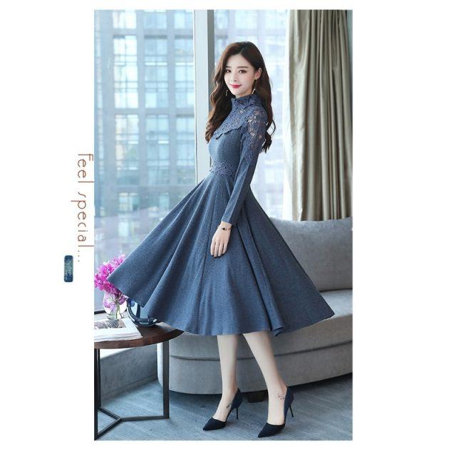 Fashion temperament women's elegant dress vestoidos 2019 autumn winter new high-necked waist big swing lace stitching dress K237