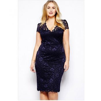 European and American women's large size (S-5XL) short-sleeved fashion sexy lace dress 2019 summer casual solid color dress B352