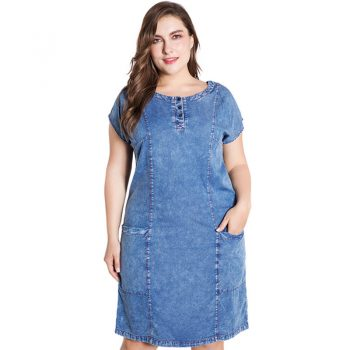 2019 Summer Plus Size vogue denim dress for women clothes autumn round neck Large Size fashion Vintage Ladies dresses women B555