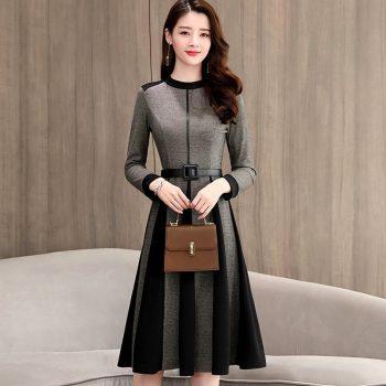 Spring Autumn Women A-Line Dress Long Sleeve Knee-Length Office Lady Elegant O-Neck Women Dress Casual Slim Autumn Vestidos K238