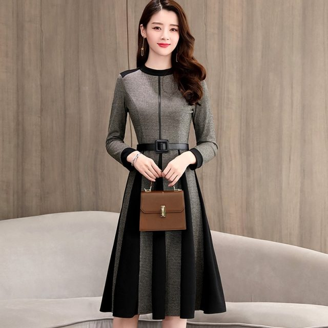 Spring Autumn Women A-Line Dress Long Sleeve Knee-Length Office Lady Elegant O-Neck Women Dress Casual Slim Autumn Vestidos K238