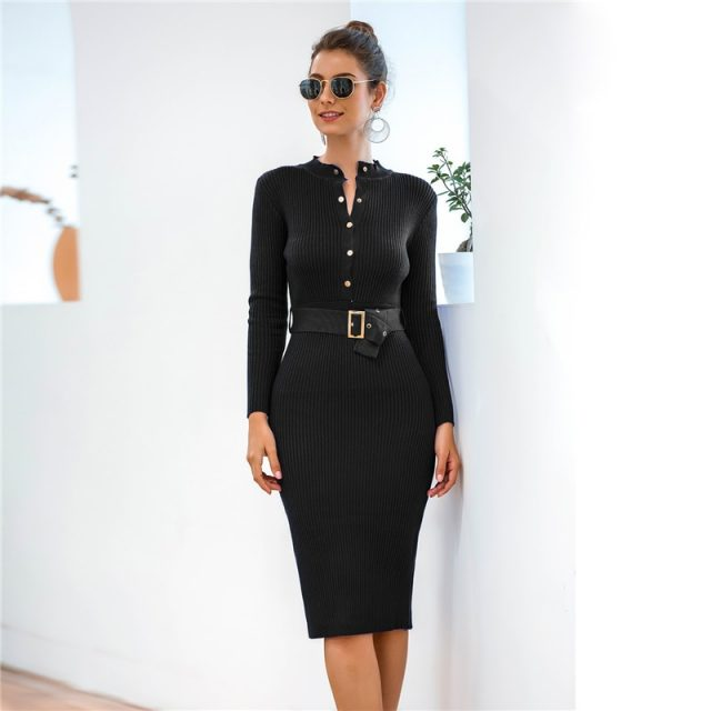 Sashes Tied Sexy Bodycon Midi Sweater Dress Women 2019 Winter Back Slit Casual Long Sleeve Turtleneck Knitted Autumn Dress B703