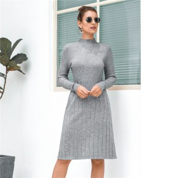 Casual Knitted Sweater Dresses Women New Arrival 2019 new Autumn Long Sleeve Dress Ladies Knee Length Dress Winter Clothes B705