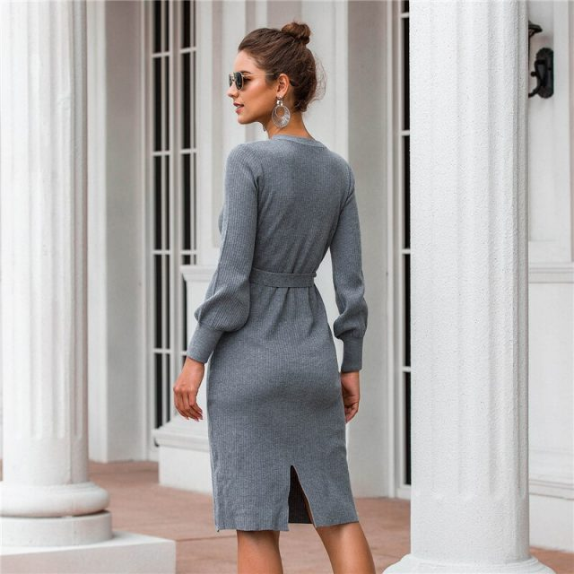 Elegant Casual Gray Dresses Women Autumn 2019 New Arrival Lantern Long Sleeve Knee Length Dress Ladies Knitted Dresses Black B70