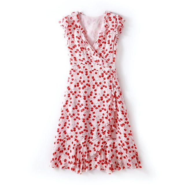 Summer women new fashion V-neck ruffled waist slimming silk printing A-line dress 2019 summer leisure holiday silk dresses B508