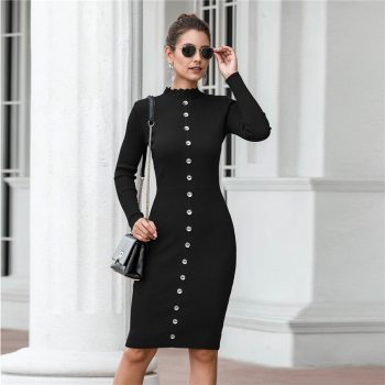 Women Red Sweater Dress Autumn Winter 2019 NEW Fashion Button Long Sleeve Slim Knitted Women Solid Pencil Dress Black Grey B711