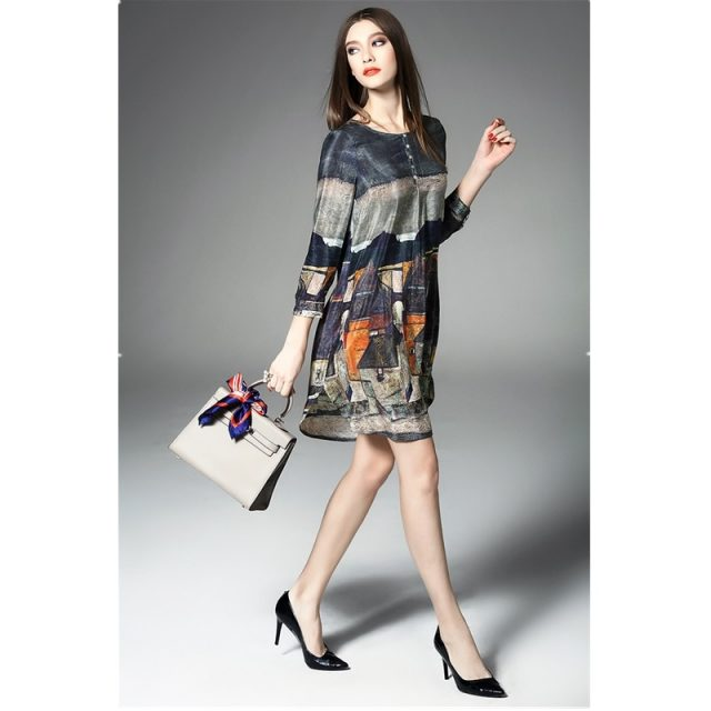 Summer women's fashion O-neck retro loose silk print A-line dress 2019 spring and summer casual office lady dresses women B511
