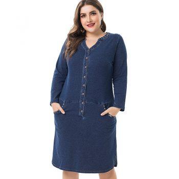 2019 Summer and autumn  Plus Size vogue denim dress women elegant Clothing large Size long sleeve office lady dress women B556