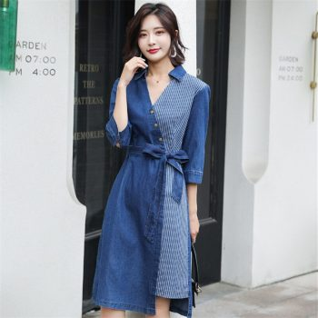2019 Fashion temperament large size women's elegant denim dress vestidos female new autumn V-neck sleeve stitching dress K236