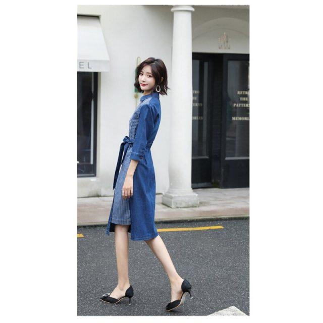 2019 Fashion temperament large size women's elegant denim dress vestidos female new autumn V-neck sleeve stitching dress K236